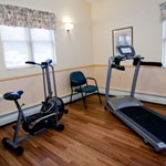 Exercise area including our new bicycle and treadmill that the residents have really taken to